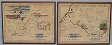 (2) W.W. II 79TH INFANTRY DIVISION COLOR LITHOGRAPH PICTURE MAPS