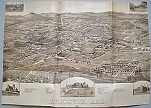 HENRY WELLGE'S 1887 LITHOGRAPH BIRDS EYE VIEW MAP OF ANNISTON ALABAMA