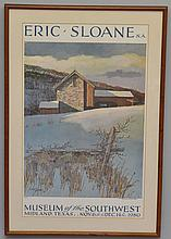 SIGNED ERIC SLOANE LIMITED EDITION COLOR LITHOGRAPH EXHIBITION POSTER