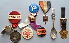 (7) MISC. VINTAGE COLLEGE SOUVENIR PIN BACK BUTTONS, STERLING SPOON, WATCH FOB AND MEDALS ETC.