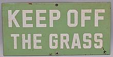VINTAGE ENAMELD - KEEP OFF THE GRASS - SIGN