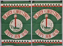 (2) VINTAGE CHRISTMAS AND NEW YEAR'S HOLIDAY PRINTED CLOTH BANNERS