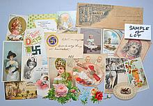 COLLECTION OF (40) TRADE CARDS, WITH DIE CUTS, POST CARDS AND A LABEL