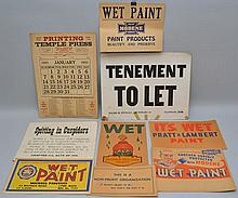 COLLECTION OF (8) MISC. CARD BOARD SIGNS AND A 1951 PRINTERS ADVERTISING CALENDAR