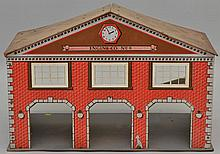 VINTAGE WOOD MASTER LITHOGRAPH ON MASONITE ENGINE CO. NO. 9 - FIRE HOUSE TOY