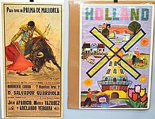 VINTAGE SPANISH BULL FIGHT ADVERTISING POSTER AND HOLLAND TRAVEL POSTER