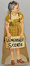 VINTAGE DIE CUT LITHOGRAPH LITTLE GIRL LEMONADE STAND SIGN