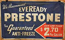 VINTAGE EVEREADY PRESTONE ANTI-FREEZE ADVERTISING CLOTH BANNER