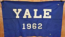 LARGE 1962 YALE UNIVERSITY BLUE AND WHITE FELT BANNER
