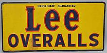 VINTAGE PAINTED EMBOSSED TIN ADVERTISING SIGN FOR LEE OVERALLS