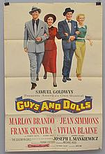 1953 COLOR LITHOGRAPH ADVERTISING MOVIE POSTER FOR GUYS AND DOLLS