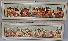 (2) VINTAGE 1904 COLOR LITHOGRAPH ILLUSTRATIONS OF DUTCH STORY TELLING BY WALL