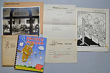 ORIGINAL SIGNED CARTOON AND CORRESPONDECE FROM FRED HEHER WITH BREGER W.W. II CARTOON BOOK AND U.S.O. PHOTO