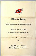 1907 PROGRAM FOR THE MEMORIAL SERVICE ON THE 100TH ANNIVERSARY OF ROBRT E. LEE'S BIRTHDAY