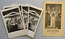 (4) PHOTO POSTCARDS OF MIDGETS IN COSTUMES AND LITHOGRAPH LOUIS COMODARI