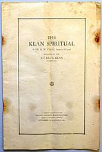 1924 KU KLUX KLAN PUBLICATION THE KLAN SPIRITUAL - BY DR. H.W. EVANS