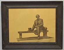 VINTAGE PHOTO LITHOGRAPH OF A BRONZE STATUE OF ABRAHAM LINCOLN BY THE GORHAM CO. FOUNDERS