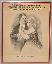 1872 SHOW ADVERTISING POSTER FOR A PERFORMANCE BY MR. & MRS. W.J. FLORENCE