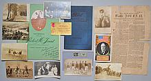 MISC. VINTAGE PAPER EPHEMERA INC. PHOTO POSTCARDS, 1728 NEWSPAPER, SIGNED MENU & MORE
