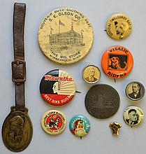 12 PC. COLLECTION OF VINTAGE PIN BACK BUTTONS, POLITICAL BUTTONS, TRADE TOKEN & WATCH FOB