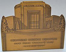 PAIR OF ENGRAVED BRASS 1939 N.Y. WORLD'S FAIR BOOKENDS DEPICTING THE CHRISTIAN SCIENCE BUILDING
