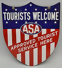 VINTAGE ENAMELED ADVERTISING SIGN FOR A.S.A. TOURIST AND MOTORING SERVICES