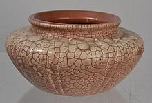HAMPSHIRE POTTERY ARTS AND CRAFTS EXPERIMENTAL ALLIGATORED MATTE IVORY OVER BROWN GLAZED VASE