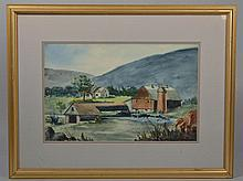 20TH CENT. AMERICAN SCHOOL, NEW ENGLAND VALLEY FARM, WATERCOLOR ON PAPER