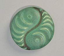 HAMPSHIRE POTTERY ARTS AND CRAFTS MATTE GREEN GLAZED PEACOCK EYE PAPERWEIGHT