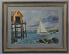 20TH CENT. AMERICAN SCHOOL, UNDER SAIL, WATERCOLOR ON PAPER