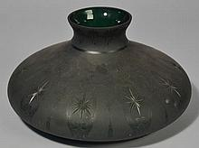 FROSTED AND CUT GREEN ART GLASS TABLE LAMP SHADE