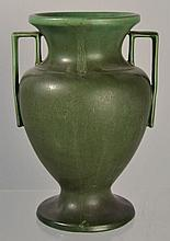 J.S. TAFT & CO. HAMPSHIRE POTTERY ARTS AND CRAFTS MATTE GREEN GLAZED GRECIAN URN VASE