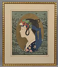 YOSHIMI OKAMOTO WOODBLOCK PROFILE PORTRAIT PRINT