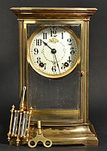 EARLY 20TH CENT. ANSONIA BRASS AND GLASS CRYSTAL REGULATOR MANTLE CLOCK