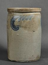 19TH CENT. VA. S. BELL & SONS BLUE SLIP DECORATED STONEWARE STORAGE JAR