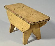 19TH CENT. N.E. PAINTED WOODEN FOOT STOOL