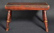 19TH CENT. N.E. GRAIN PAINTED AND PAINT DECORATED WINDSOR CRICKET FOOT STOOL