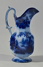 19TH CENT. SHANGHAE PATTERN FLOW BLUE PANELED PITCHER BY J. FURNIVAL