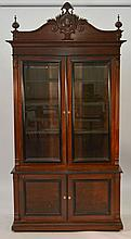 19TH CENT. VICTORIAN LIBRARY BOOKCASE OVER CUPBOARD