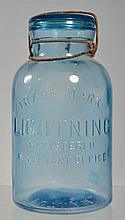 BLOWN IN MOLD CORNFLOWER BLUE HALF GALLON LIGHTNING FRUIT JAR