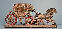 EARLY 20TH CENT. PAINTED CAST IRON ROYAL COACH DOORSTOP - LAMP