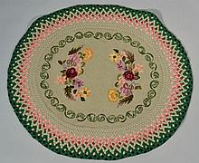 N.E. FOLK ART COMBINATION HOOKED AND BRAIDED RUG