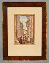 19TH CENT. FRESER WATERCOLOR PAINTING OF FIGURES AMONG THE RUINS