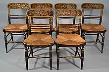SET OF (6) N.E. GRAINED AND PAINT DECORATED SHERATON FANCY CHAIRS
