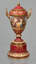 19TH CENT. - EARLY 20TH CENT. ROYAL VIENNA HAND PAINTED COVERED URN - SIGNED W. PFOHL