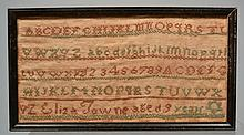 19TH CENT. N.E. NEEDLEWORK SAMPLER WROUGHT BY ELIZA TOWNE