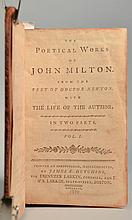 The Poetical Works of John Milton.  From the Text of Doctor Newton.  With the Life of the Author, in Two Parts - 2 Volumes in 1 Book