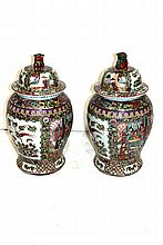 Pair of Chinese Rose Medallion Style Porcelain Covered Vases