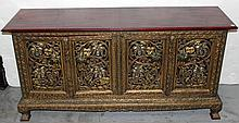 Thai Glass Inlaid Intricately Carved Cabinet