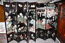 2 Chinese Black Lacquered Screens
